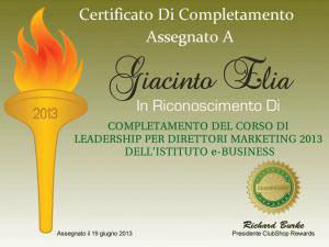 Certificato Giacinto Elia Direttore Marketing