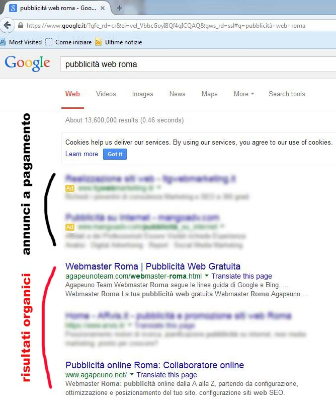 screenshot posizionamento organico siti web