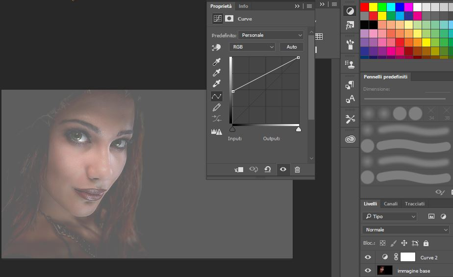 Photoshop finestra regolazioni curve